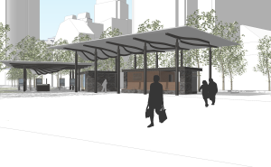 Pavilion rendering; view from the carousel looking southwest.