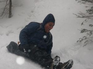 Sledding down Mt. Willard!